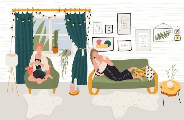 Mensen rusten thuis, ontspannen in gezellig appartement, illustratie