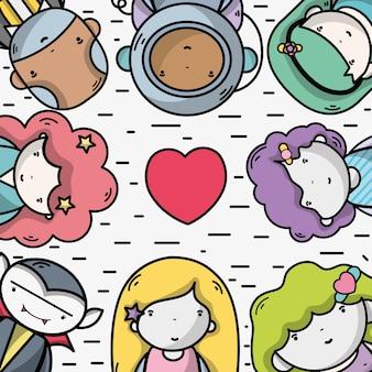 Mensen samen naar avatar pictogram kawaii