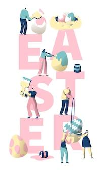 Mensen schilderen easter egg typografie banner.