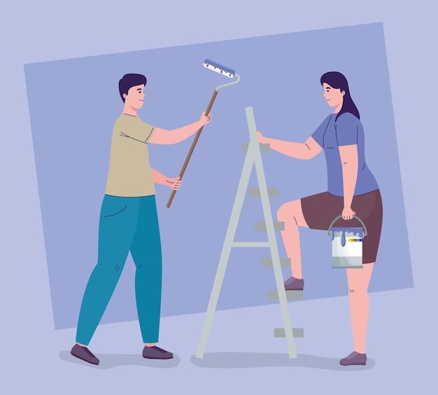 Mensen schilderen en verbouwen