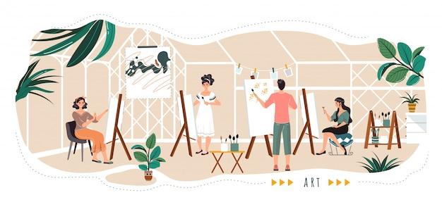 Mensen schilderen in kunststudio, stripfiguren, illustratie