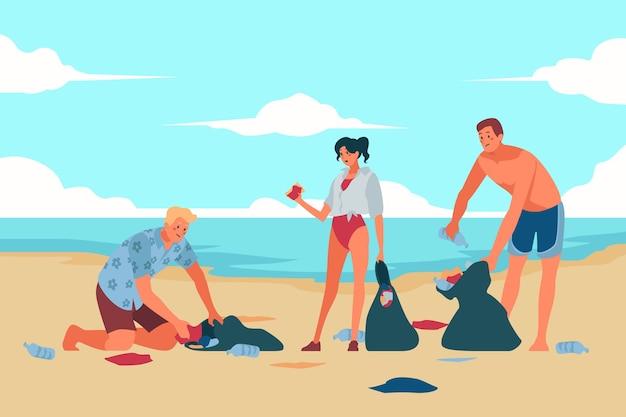 Mensen schoonmaken strand geïllustreerd