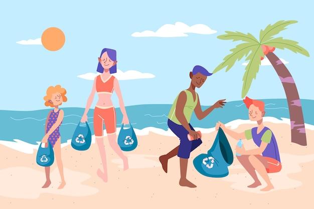 Mensen schoonmaken strand van zwerfvuil