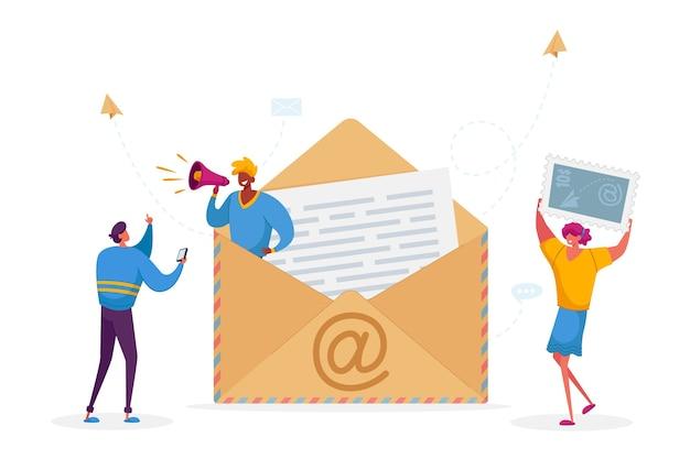 Mensen schrijven digitale brieven concept.
