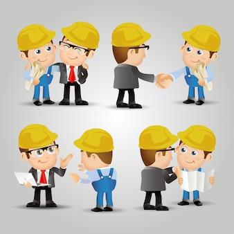 Mensen set beroep ingenieurs ontmoeten verbinding