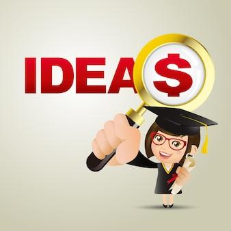 Mensen set onderwijs afgestudeerde student vrouw ideeën en dollar