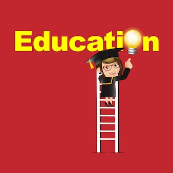 Mensen set onderwijs afgestudeerde student vrouw wijzend onderwijs symbool