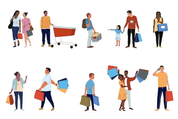 Mensen shoppers instellen