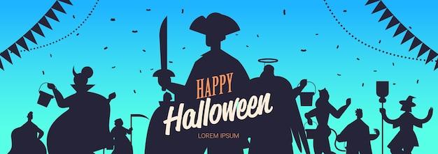 Mensen silhouetten in verschillende kostuums vieren happy halloween party concept belettering wenskaart portret horizontale kopie ruimte vectorillustratie