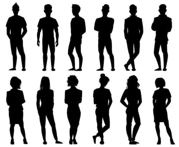 Mensen silhouetten. mannelijke en vrouwelijke anonieme persoon silhouetten