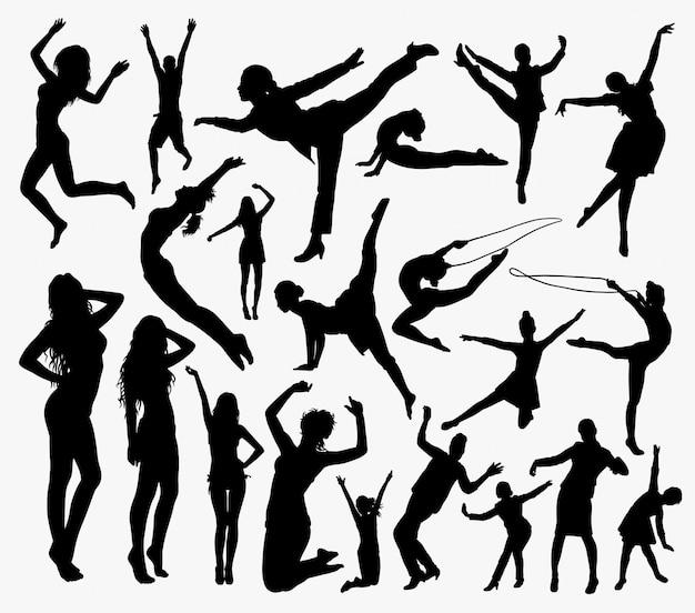 Mensen silhouetteren. goed gebruik voor symbool, logo, webicoon, mascotte, etc.