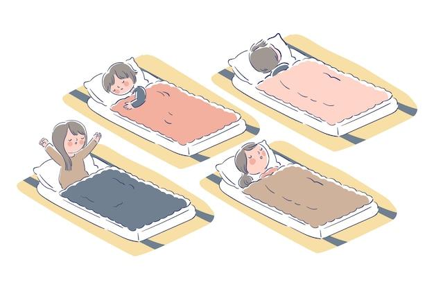 Mensen slapen binnenshuis in futons