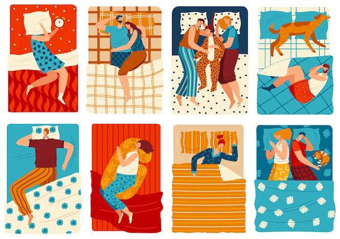 Mensen slapen in bed, set van grappige stripfiguren, met de hand getekende mannen en vrouwen, illustratie