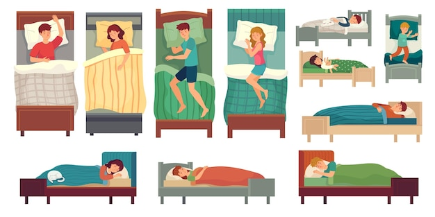 Mensen slapen in bedden. volwassen man in bed, slapende vrouw en jonge kinderen slapen illustratie set.