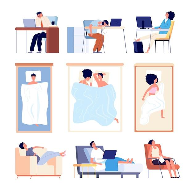 Mensen slapen. paar slapen in beddeken, plat vermoeide man vrouw. geïsoleerde slaapkarakters op bank bij bureau in stoel vectorillustratie. paar in slaapkamer, persoon slaapt op werk en in stoel