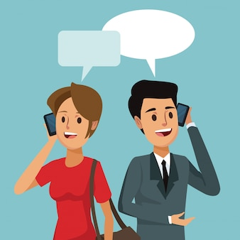 Mensen sociale netwerkcommunicatie met dialoogvenster