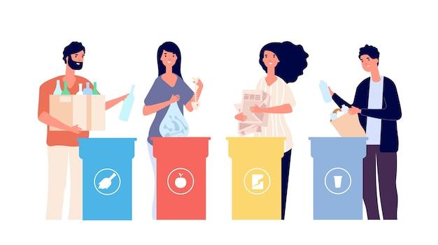 Mensen sorteren afval. recyclebaar afval in verschillende containers. recycling eco vector concept. recycleer huisvuil en afval, plastic segregatieillustratie