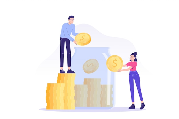 Mensen sparen munten in een glazen pot