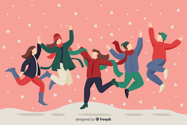 Mensen spelen en springen in de sneeuw