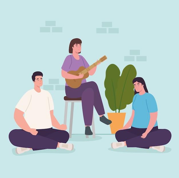 Mensen spelen gitaar thuis ontwerp van activiteit en vrije tijd
