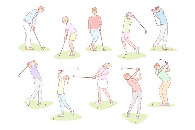 Mensen spelen golf set concept
