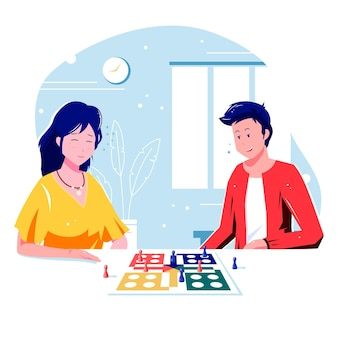 Mensen spelen ludo-spel