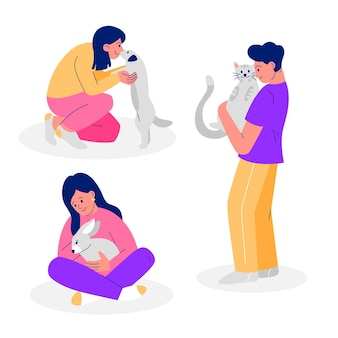 Mensen spelen met hun huisdieren collectie