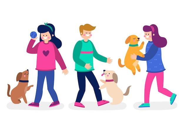 Mensen spelen met hun pluizige huisdieren