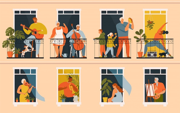 Mensen spelen muziekinstrumenten vanaf hun balkons en ramen