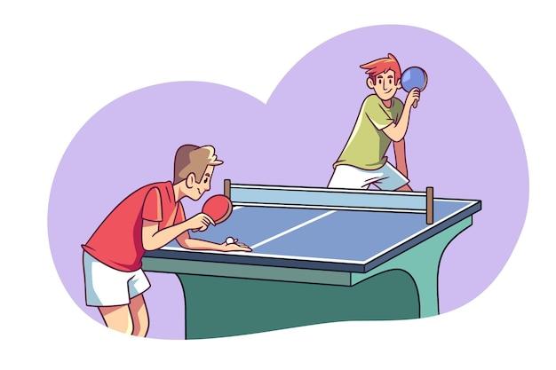 Mensen spelen tafeltennis hand getrokken ontwerp