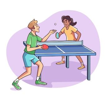Mensen spelen tafeltennis hand getrokken stijl