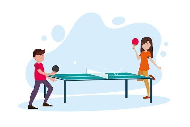 Mensen spelen tafeltennis illustratie