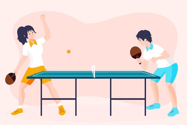 Mensen spelen tafeltennis