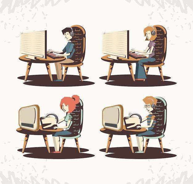 Mensen spelen videogame retro vector illustratie ontwerp