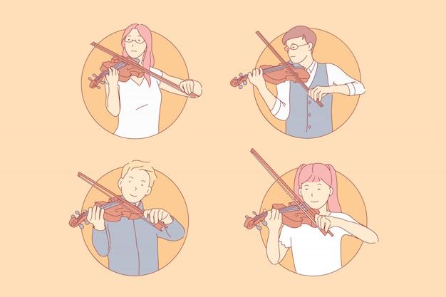 Mensen spelen viool illustratie set