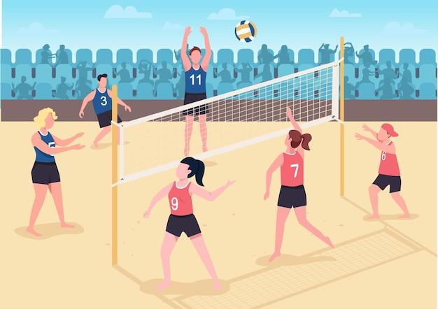 Mensen spelen volleybal op strand plat. bezoekers brengen hun vrije vakantietijd buiten door. volleybalspelers 2d-stripfiguren met schreeuwende fans
