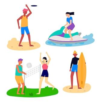 Mensen spelen zomeractiviteiten