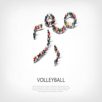 Mensen sporten volleybal