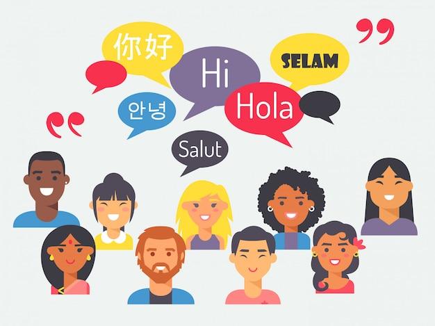 Mensen spreken verschillende talen in vlakke stijl