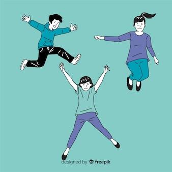 Mensen springen in koreaanse tekenstijl