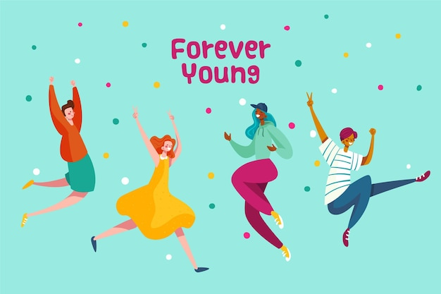 Mensen springen op de jeugddag in plat ontwerp