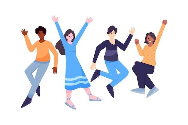 Mensen springen op jeugddag evenement illustratie