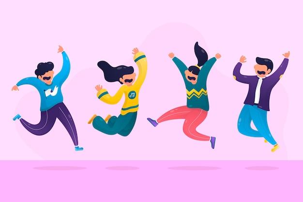 Mensen springen samen plat ontwerp