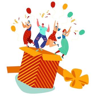 Mensen springen uit de doos, verjaardagsfeestje aanwezig, vectorillustratie