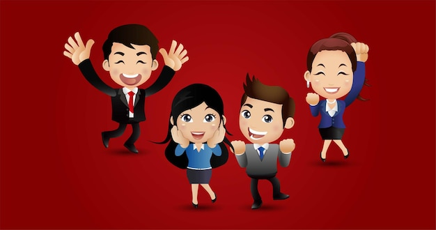 Mensen springen vieren succes prestatie