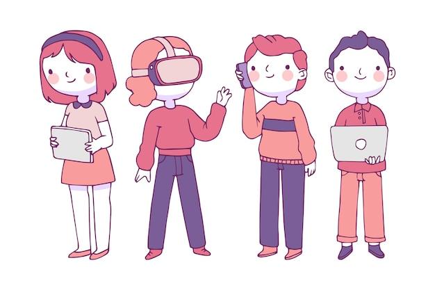 Mensen staan en gebruiken technologische apparaten