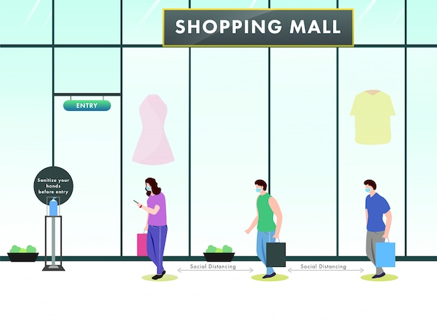 Mensen staan en houden afstand voor het winkelcentrum met een gegeven bericht om handen te ontsmetten voordat ze binnenkomen om coronavirus te voorkomen.