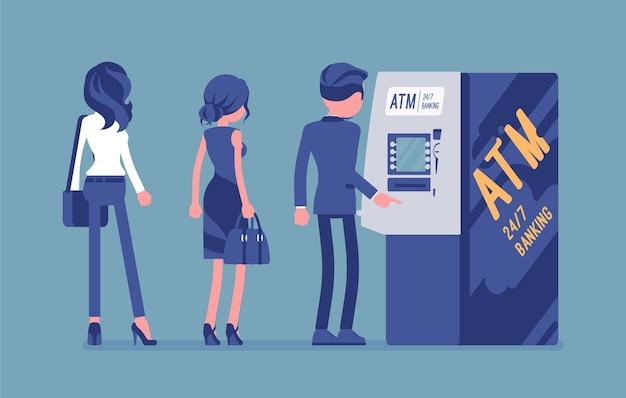 Mensen staan in de atm-lijn. wachtrij bij geldautomaat, wachtend op bankdiensten, elektronisch stopcontact, klanten voltooien basistransacties. vectorillustratie, gezichtsloze karakters