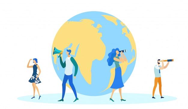 Mensen staan in de buurt van globe international business.