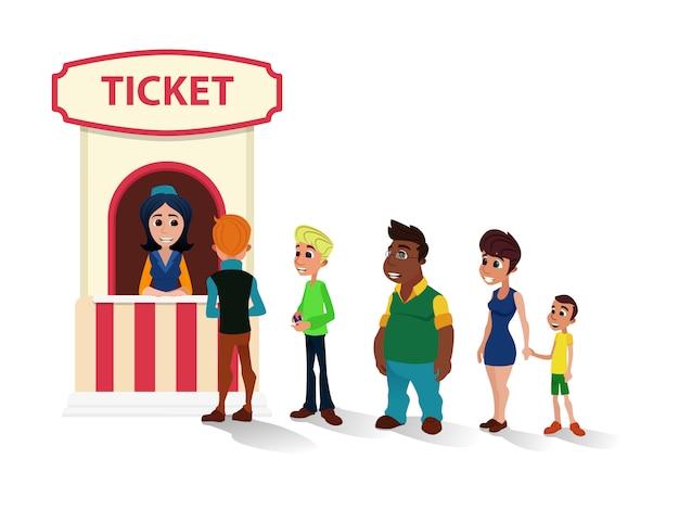 Mensen staan in de rij bij cinema ticket office cartoon